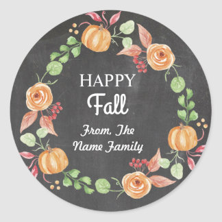 Happy Fall Harvest Festival Pumpkin Wreath Sticker