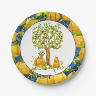 Happy Fall Harvest Halloween Party Pumpkin Patch Paper Plate