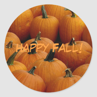 Happy Fall, pumpkins Round Sticker