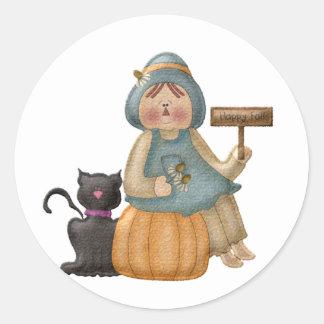 Happy Fall Scarecrow Classic Round Sticker