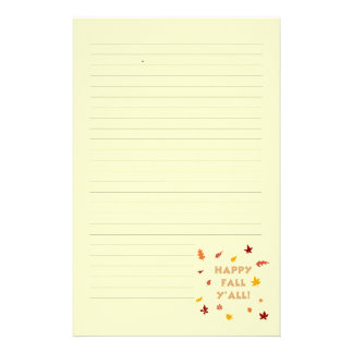 Happy fall y'all. Falling leaves lined stationary Stationery