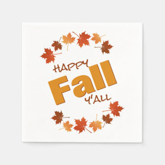 happy fall y'all greeting autumn maple leaves paper napkin
