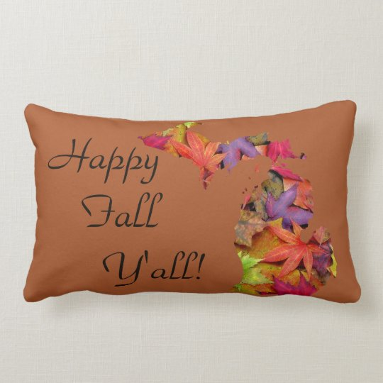 Happy Fall Y'all | Michigan Leaves Silhouette Lumbar Pillow