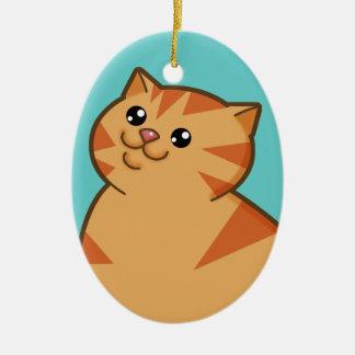 Happy Fat Orange Cat Keepsake Ornament oval