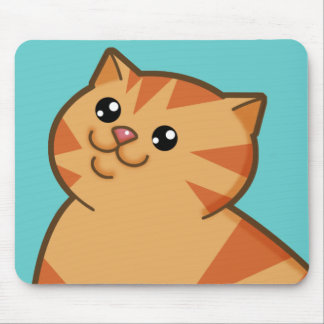 Happy Fat Orange Cat Mouse Pad