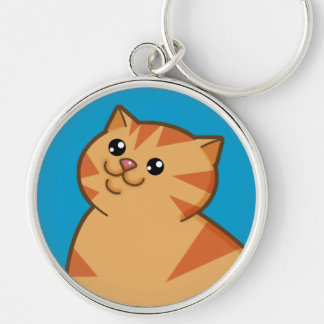 Happy Fat Orange Cat Silver-Colored Round Keychain