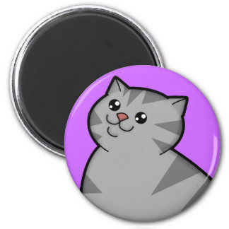 Happy Fat Silver Tabby Cat Round Magnet