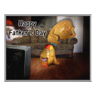 Happy Father s Day - Couch Potatoes Dad Asleep Flyers