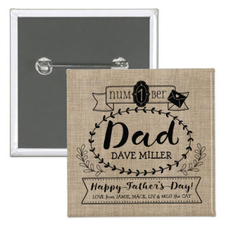 Happy Father's Day Number 1 One Dad Monogram Logo 2 Inch Square Button