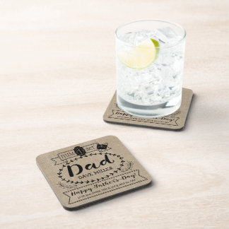 Happy Father's Day Number 1 One Dad Monogram Logo Beverage Coasters