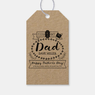 Happy Father's Day Number 1 One Dad Monogram Logo Gift Tags