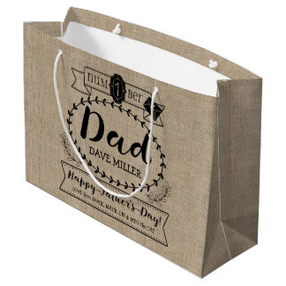 Happy Father's Day Number 1 One Dad Monogram Logo Large Gift Bag
