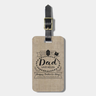 Happy Father's Day Number 1 One Dad Monogram Logo Luggage Tag