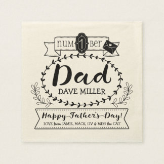 Happy Father's Day Number 1 One Dad Monogram Logo Paper Napkin