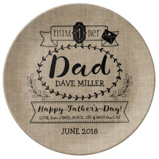 Happy Father's Day Number 1 One Dad Monogram Logo Porcelain Plates