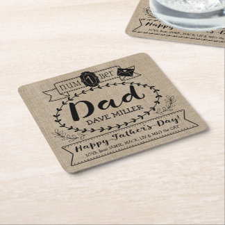 Happy Father's Day Number 1 One Dad Monogram Logo Square Paper Coaster