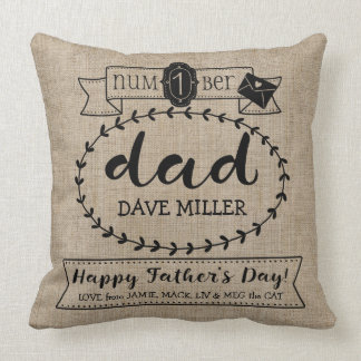 Happy Father's Day Number 1 One Dad Monogram Logo Throw Pillow