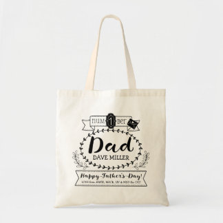 Happy Father's Day Number 1 One Dad Monogram Logo Tote Bag