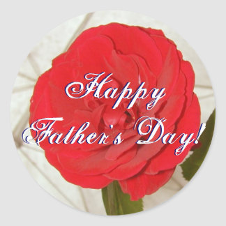 Happy Father s Day Red Rose Round Sticker