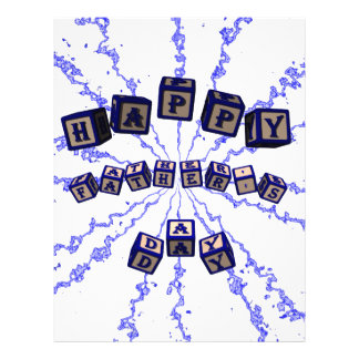 Happy Father s Day toy blocks in blue Full Color Flyer