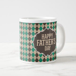 Happy Father's Day Argyle Pattern Large Coffee Mug