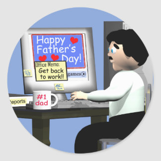 Happy Fathers Day at the Office Classic Round Sticker