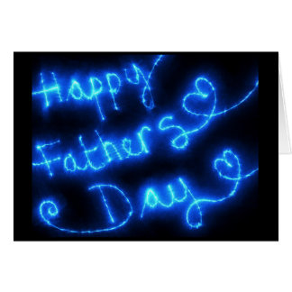 Happy Father's Day Blue Lights Greeting Card
