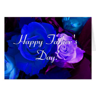Happy Father's Day Blue Purple Roses Greeting Card