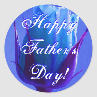 Happy Father's Day Blue Rose Classic Round Sticker