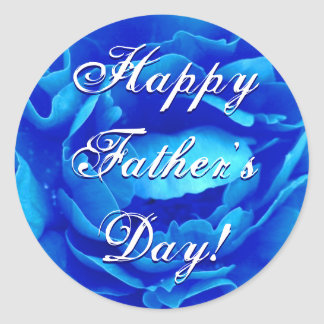 Happy Father's Day Blue Rose Round Sticker