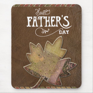 Happy Father's Day - Brown Leather Maple Leaf Mouse Pad