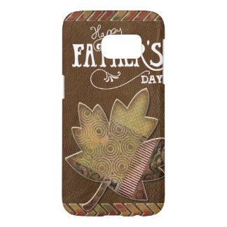Happy Father's Day - Brown Leather Maple Leaf Samsung Galaxy S7 Case