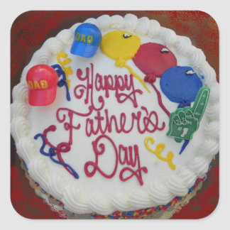 Happy Father's Day Cake Square Sticker