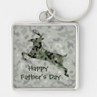 Happy Father's Day Camo Deer Keychain
