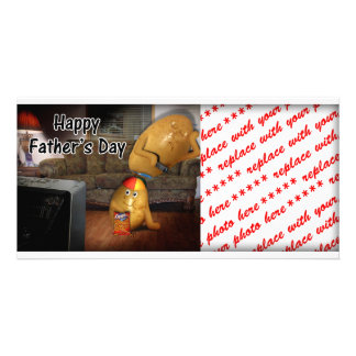 Happy Father's Day - Couch Potatoes Dad Asleep Photo Card Template
