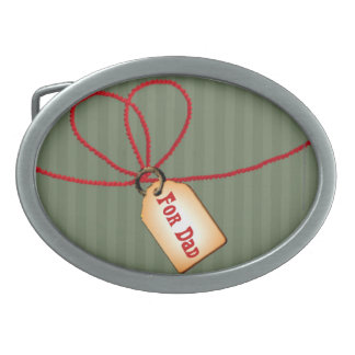 Happy Father's Day Dad gift tag with red ribbon Belt Buckles