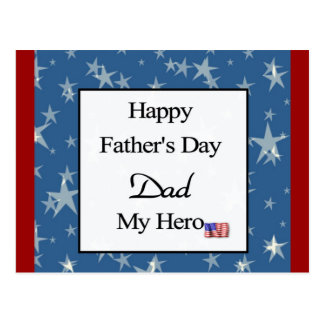 Happy Father's Day Dad My Hero Postcard