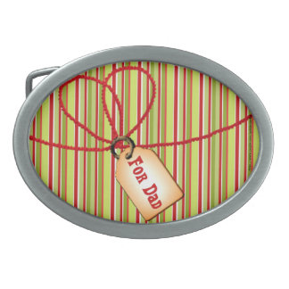 Happy Father's Day Dad stripes and gift tag Belt Buckles