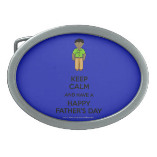 Happy Father's Day Dad with African American Dad Oval Belt Buckle