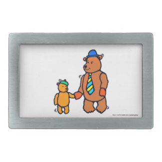 Happy Father's Day Dad with teddy bears Rectangular Belt Buckle