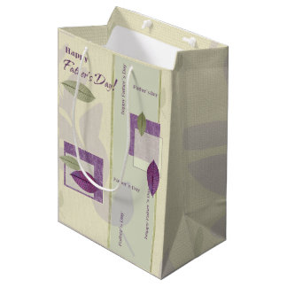 Happy Father's Day. Elegant Leaf Design Gift Bags