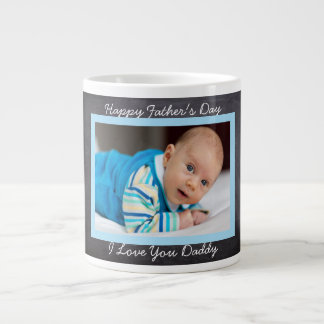 Happy Father's Day, Faux Chalkboard, Custom Photo Large Coffee Mug