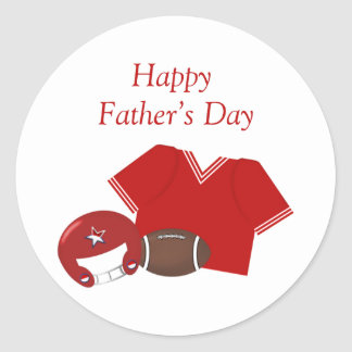 Happy Father's Day (football - red) Classic Round Sticker