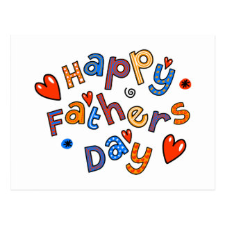 Happy Fathers Day Holiday Text Postcard