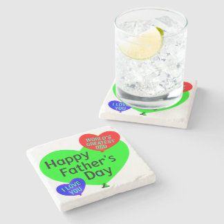 Happy Fathers Day Love Stone Coaster