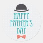 Happy Father's Day Modern Polka Dots Design Round Sticker