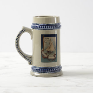 Happy Fathers Day Nautical Ship 18 Oz Beer Stein