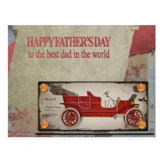 Happy father's day old car postcard - best dad