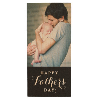 Happy Father's Day Photo USB Flash Drive Wood USB 2.0 Flash Drive