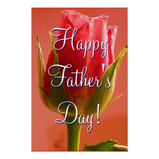 Happy Father's Day Pink Rose Poster